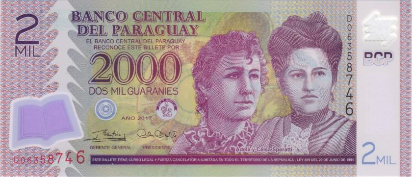 Paraguay P228d 2.000 Paraguayan Guaraníes 2017 UNC