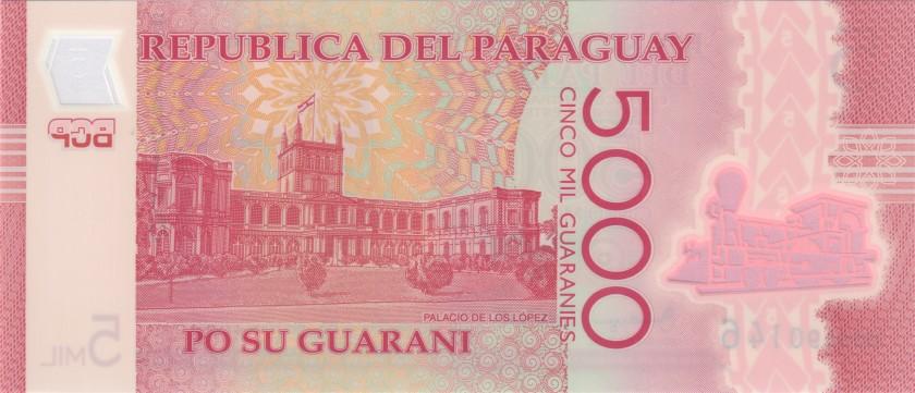 Paraguay P234b 5.000 Paraguayan Guaraníes 2016 UNC