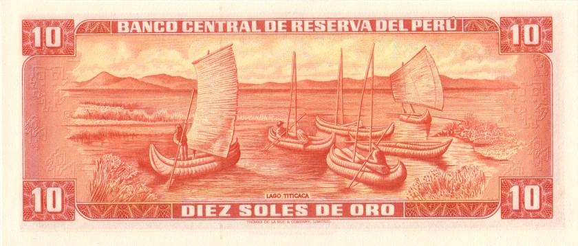Peru P106 10 Soles de Oro 1975 UNC