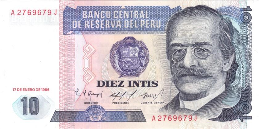 Peru P128 10 Intis 1986 UNC