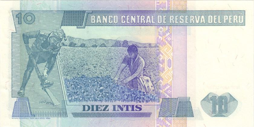 Peru P129r REPLACEMENT 10 Intis 1987 UNC