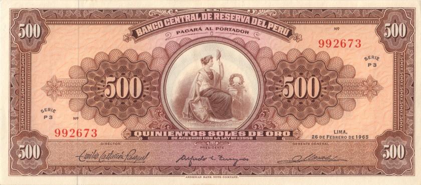 Peru P91 500 Soles de Oro 1965 UNC