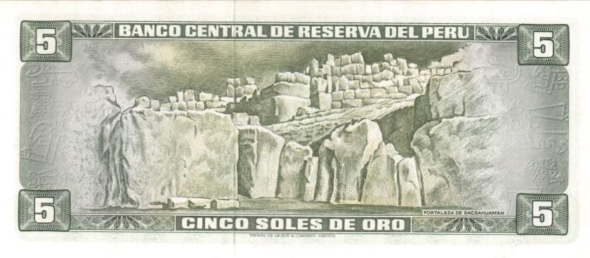 Peru P99b 5 Soles de Oro 1972 UNC