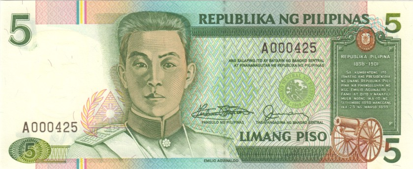 Philippines P168a A000425 5 Philippines Pesos 1985-1994 UNC