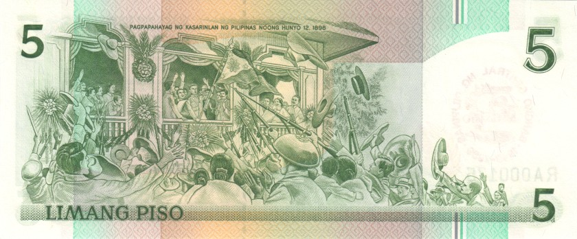 Philippines P177 RA000166 5 Philippines Pesos 1989 UNC