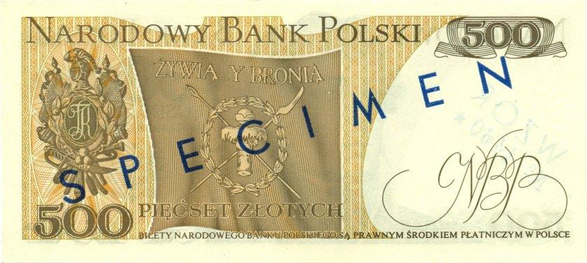 Poland P145as SPECIMEN 500 Złotych 1974 UNC