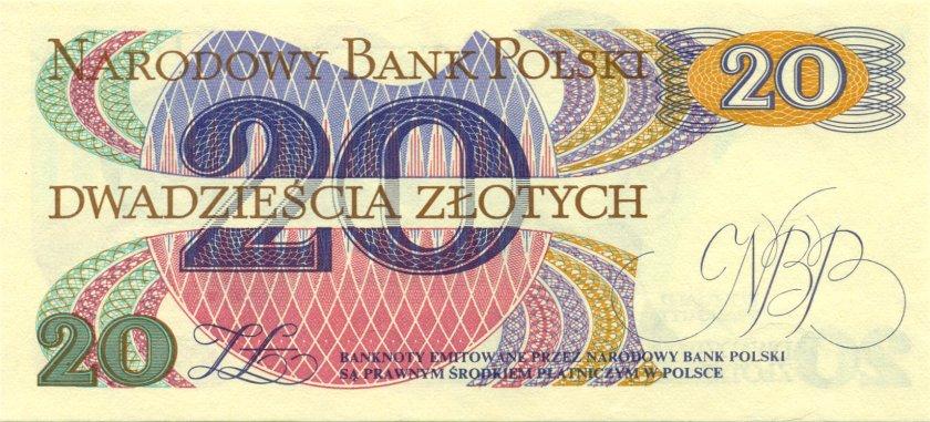 Poland P149a(2) 20 Złotych 1982 UNC