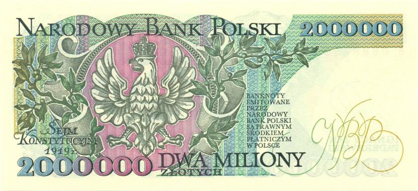 Poland P158b 2.000.000 Złotych 1992 UNC