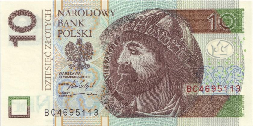 Poland P183 10 Złotych 2016 UNC