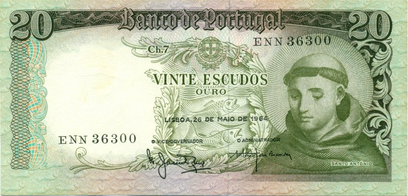 Portugal P167b(8) 20 Escudos 1964 UNC
