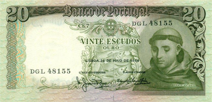 Portugal P167b(7) 20 Escudos 1964 UNC