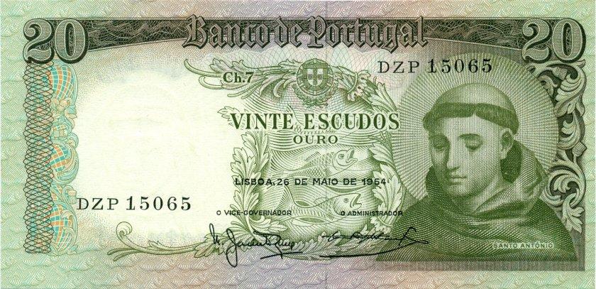Portugal P167b(2) 20 Escudos 1964 UNC