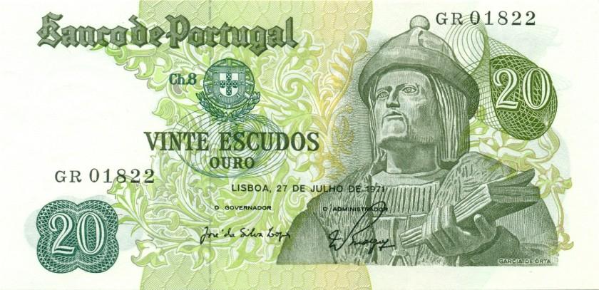 Portugal P173(1) 20 Escudos 1971 UNC