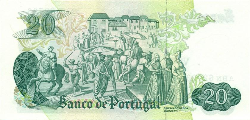 Portugal P173(2) 20 Escudos 1971 UNC