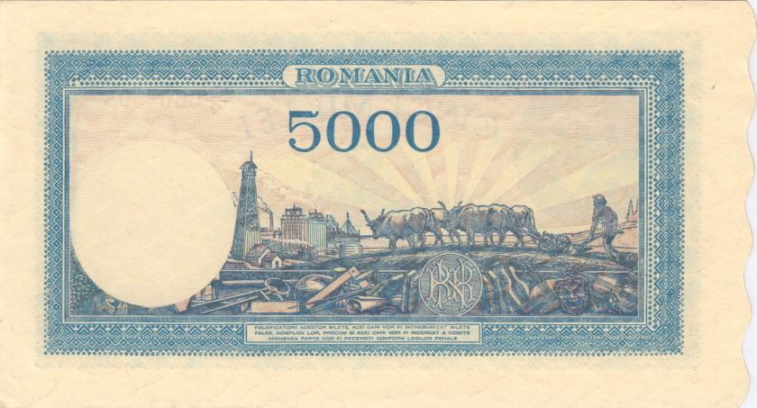 Romania P56a 5.000 Lei 1945 AU