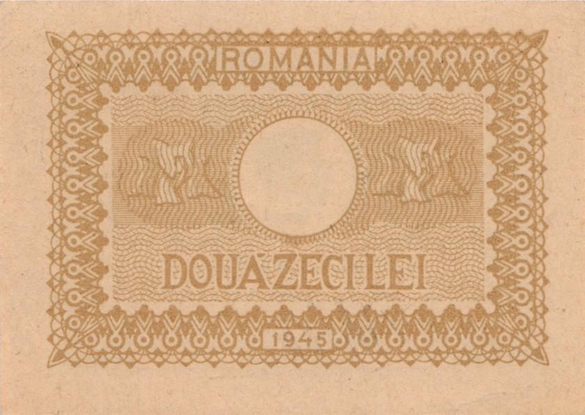 Romania P76 20 Lei 1945 AU