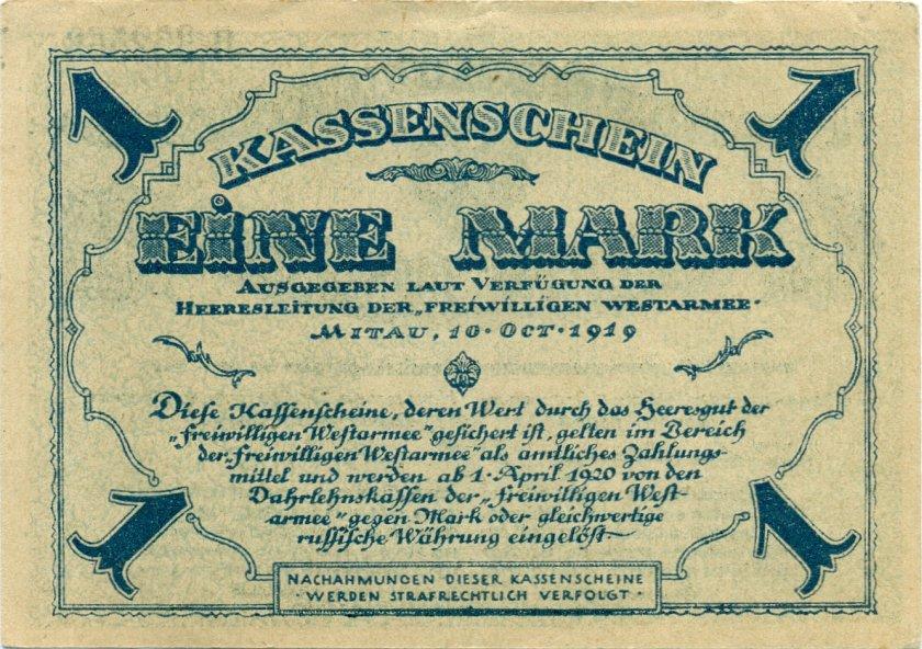 Latvia Russia Germany Mitau P-S226b 1 Mark 1919