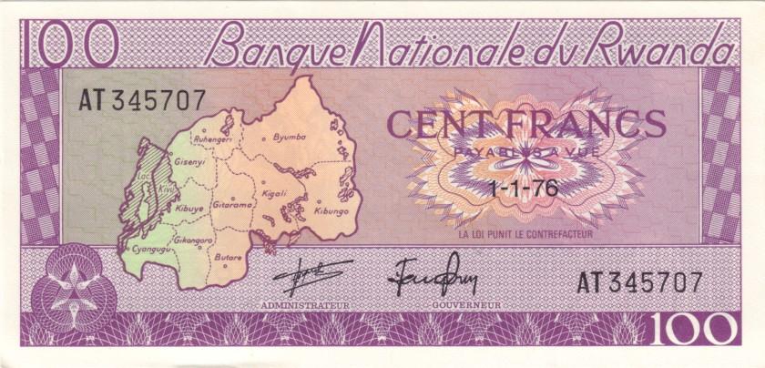 Rwanda P8d 100 Francs / Amafaranga 1976 UNC-