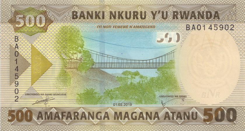 Rwanda P-NEW 500 Francs / Amafaranga 2019 UNC