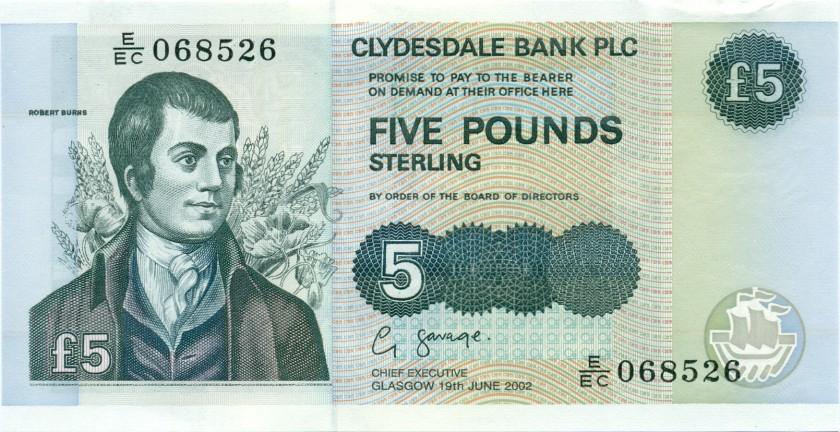 Scotland P218d 5 Pounds Sterling 2002 UNC