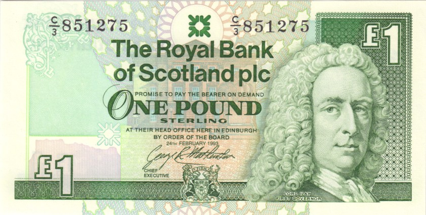 Scotland P351c 1 Pound Sterling 1993 UNC