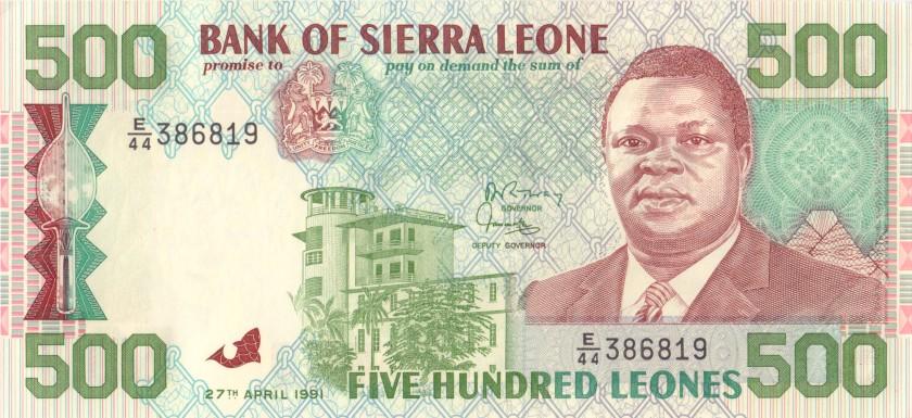 Sierra Leone P19 500 Leones 1991 UNC