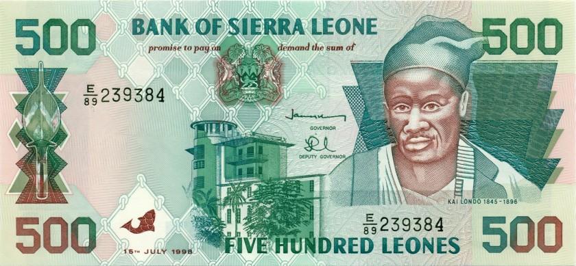 Sierra Leone P23b 500 Leones 1998 UNC