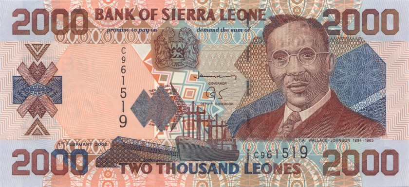 Sierra Leone P26a 2.000 Leones 2002 UNC
