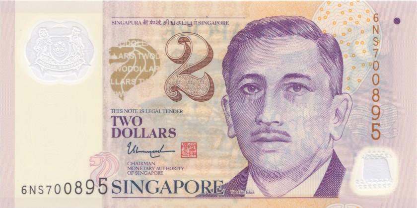 Singapore P46j 2 Dollars 2017 UNC