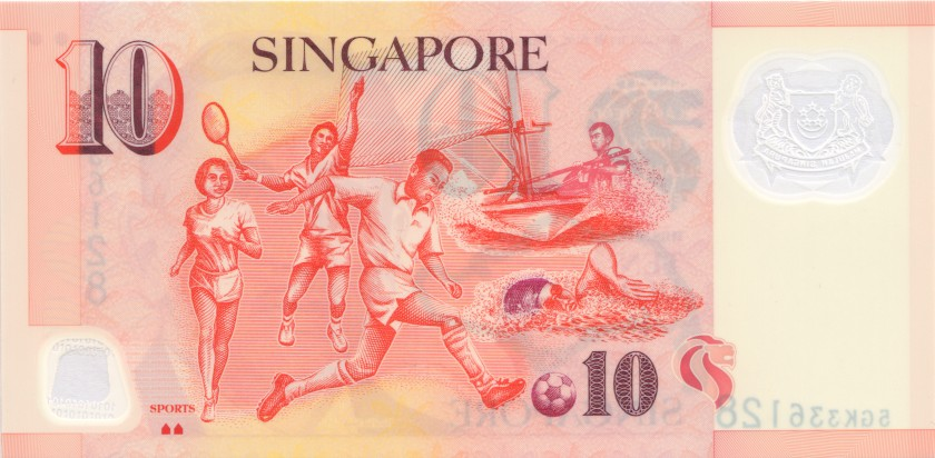 Singapore P48j 10 Dollars 2017 UNC