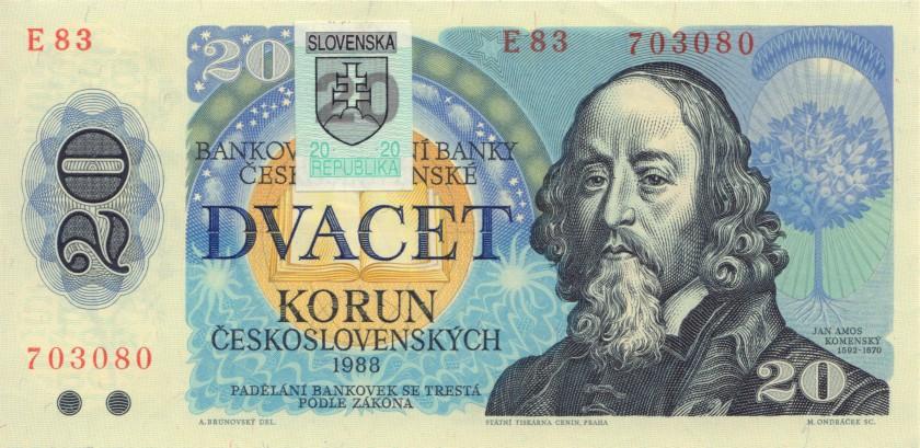 Slovakia P15 20 Slovak Korunas 1993 AU