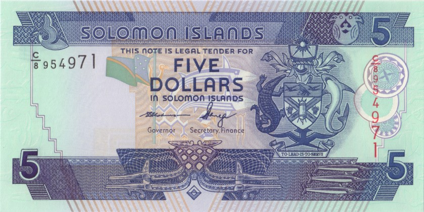 Solomon Islands P26(3) 5 Dollars 2011 UNC