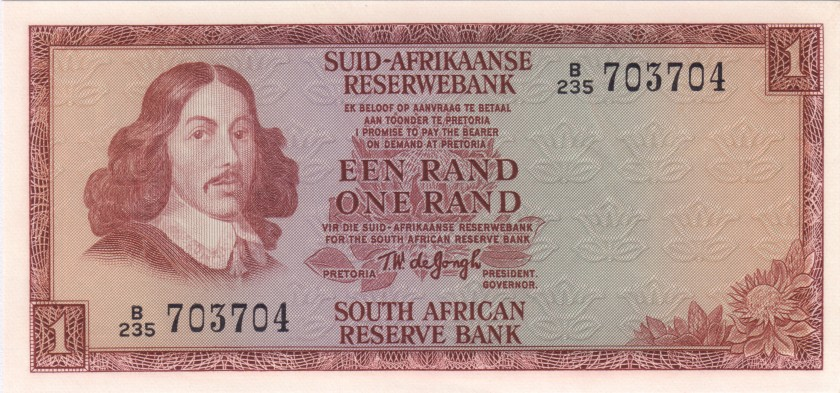South Africa P109b 1 Rand 1966-1972 UNC
