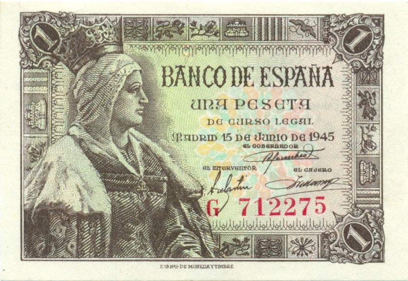 Spain P128 1 Peseta 1945 UNC