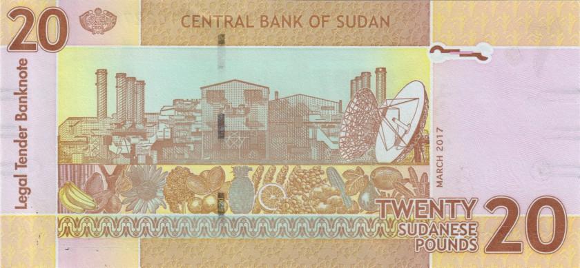 Sudan P74d(2) 20 Sudanese Pounds 2017 UNC