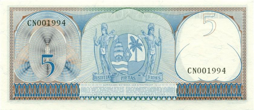 Suriname P120b 5 Gulden 1963 UNC