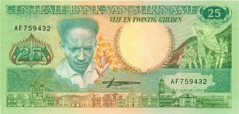 Suriname P132b 25 Gulden 1988 UNC