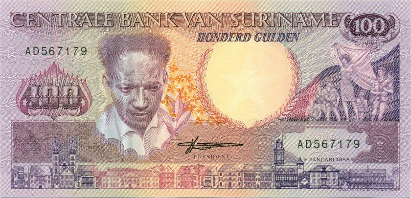 Suriname P133b 100 Gulden 1988 UNC