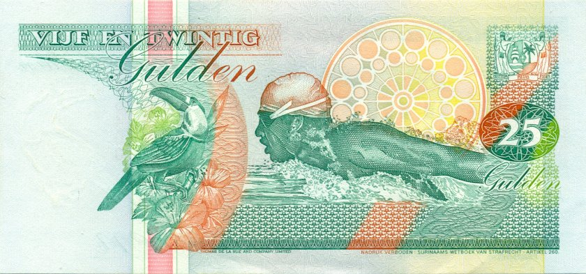 Suriname P138a 25 Gulden 1991 UNC