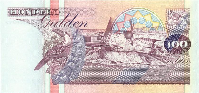 Suriname P139b 100 Gulden 1998 UNC
