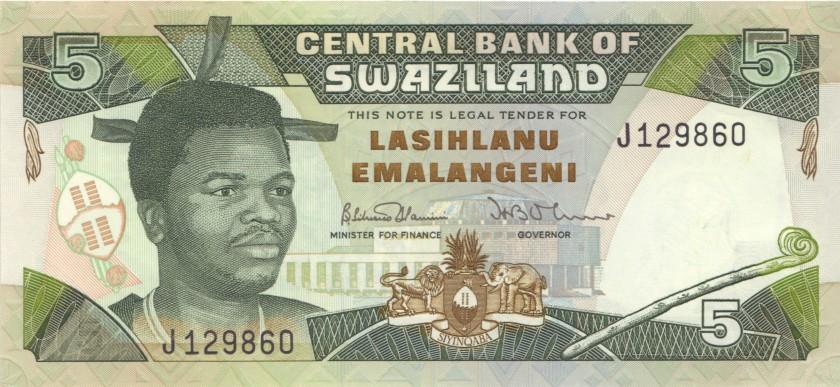 Swaziland P19a 5 Emalangeni 1992 UNC