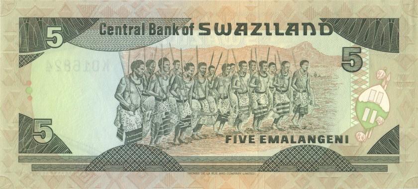 Swaziland P19b 5 Emalangeni 1994 UNC-