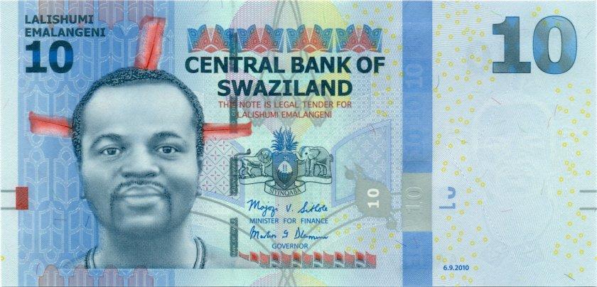 Swaziland P36a 10 Emalangeni 2010 UNC