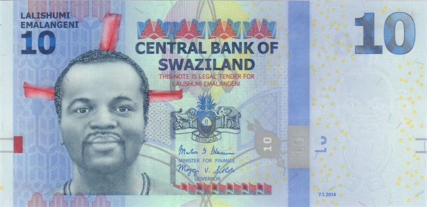 Swaziland P36b 10 Emalangeni 2014 UNC