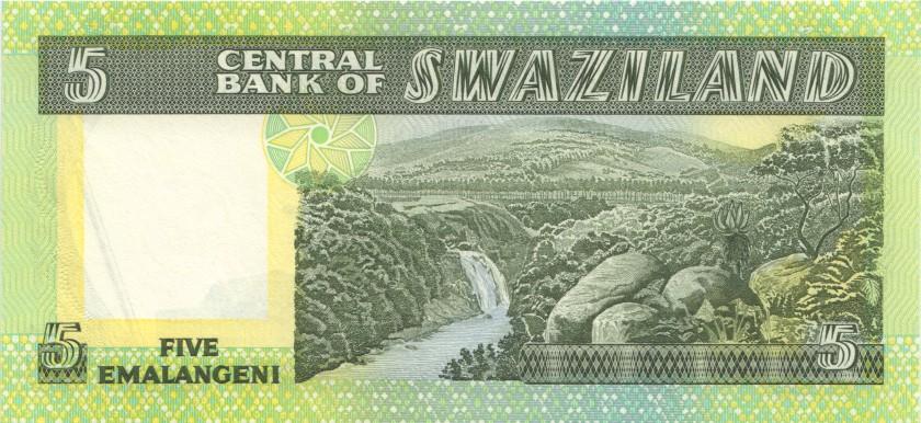 Swaziland P9b 5 Emalangeni 1984 UNC