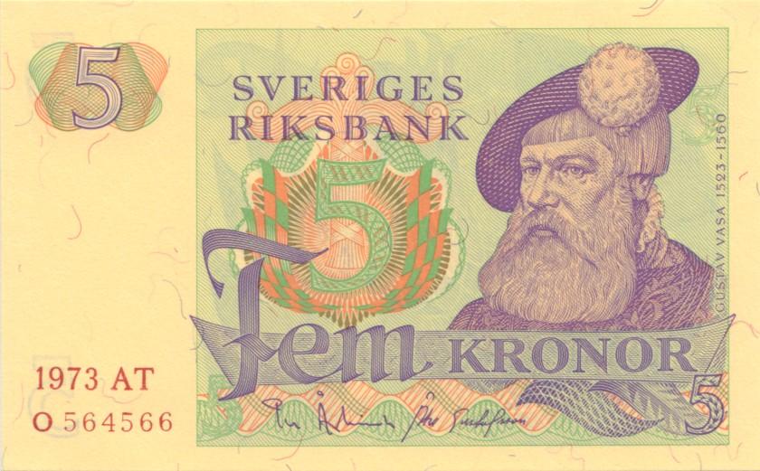 Sweden P51c 5 Kronor 1973 UNC