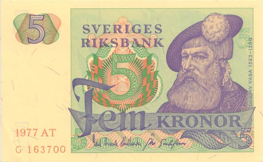 Sweden P51c 5 Kronor 1977 UNC