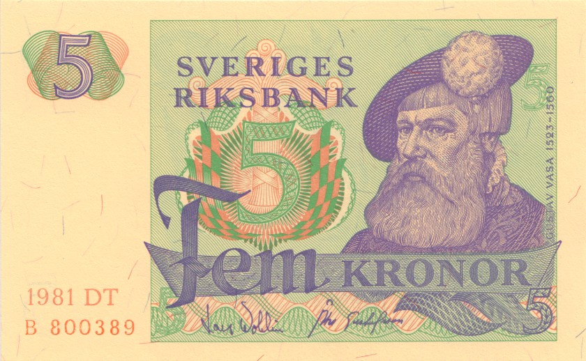 Sweden P51d 5 Kronor 1981 UNC