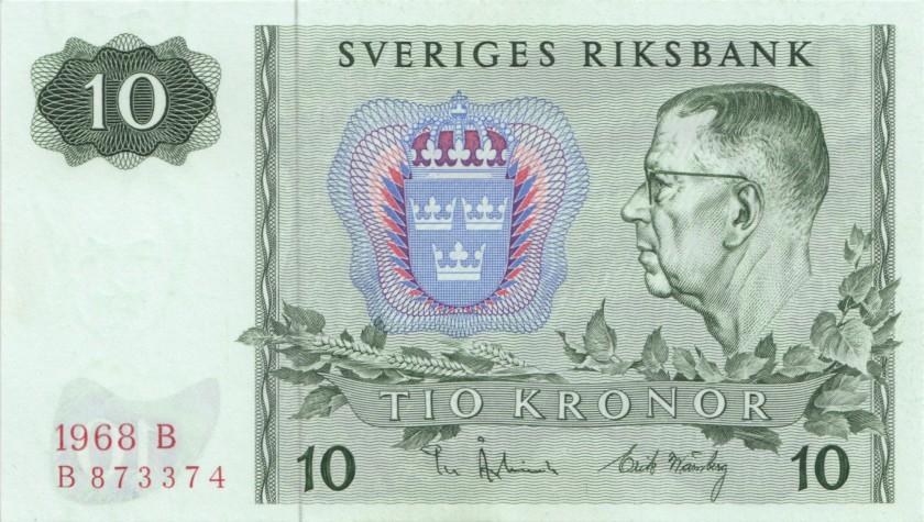 Sweden P52b 10 Kronor 1968 UNC