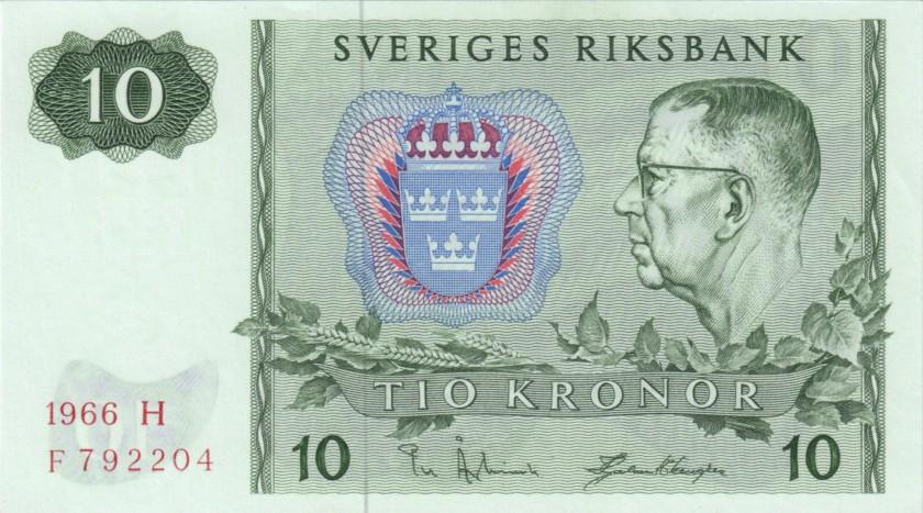 Sweden P52b 10 Kronor 1966 UNC